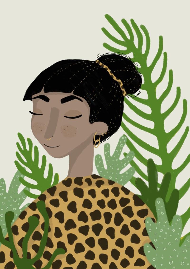 portrett svart hår oppsatt